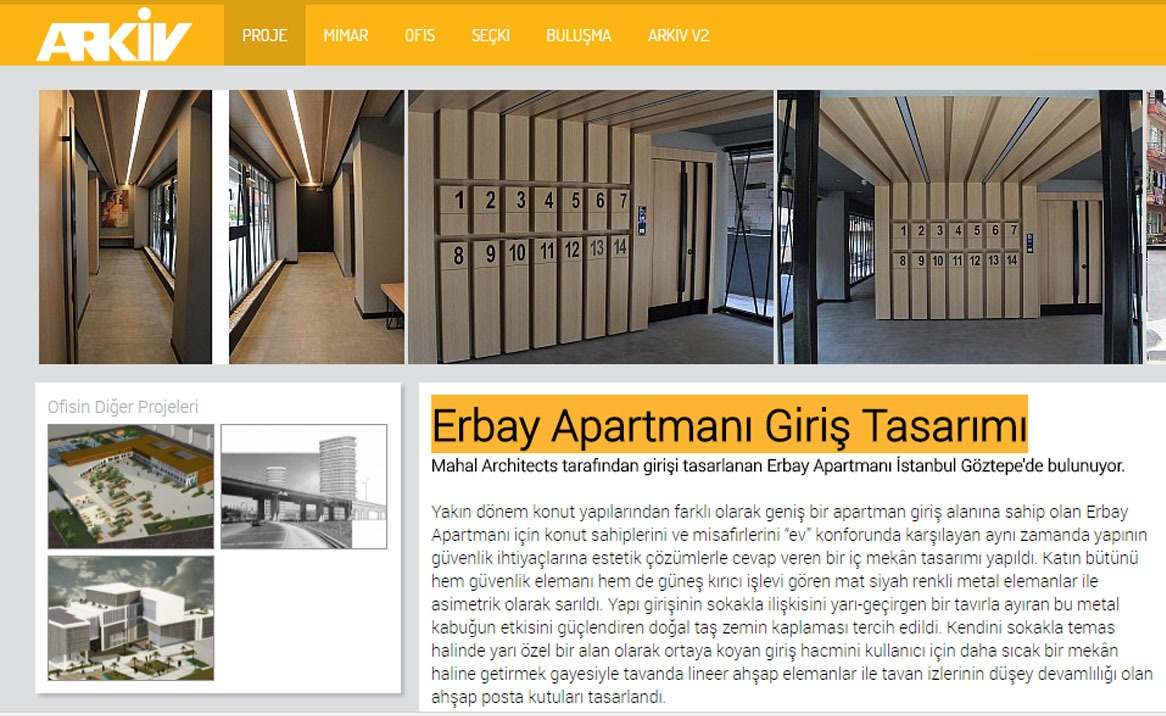 "You can reach our ""Erbay Apartment Entrance Design"" project, which was introduced in the projects section of Arkiv:   Read"